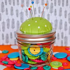 Mason Jar Pin Cushion with Tutorial {I should be mopping the floor}