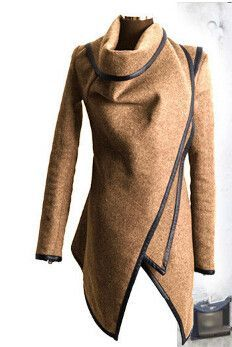 FREE SHIPPING Women Woolen Coat Winter 2015 Jacket Zipper Asymmetric PU Leather Trim Waterfall Open Front Cardigan Coat