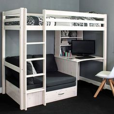 High Sleeper Bed with Desk and sofa Bed . High Sleeper Bed with Desk and sofa Bed . High Sleeper Bed Frame Fixed Desk Corner Cushions Grey Bedroom Desk, Small Room Bedroom, Bedroom Loft, Master Bedroom, Modern Bedroom, Contemporary Bedroom, Bedroom Furniture, Bedroom Romantic, Trendy Bedroom