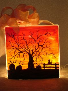 Halloween Sunset Two Sided Glass Block by MysticFireDesign on Etsy, $35.00