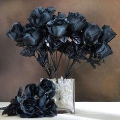 252 wholesale artificial mini calla lilies wedding flower vase 84 artificial silk rose buds wedding flower bouquet centerpiece decor black mightylinksfo