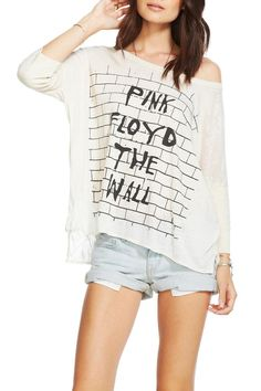 Oversized half-sleeved tee in a super soft fabric with a Pink Floyd graphic. Longer in back than front and Slightly sheer. Pair with jean shorts and ankle booties! Pink Floyd Tee by Chaser. Clothing - Tops - Casual Clothing - Tops - Long Sleeve Kansas