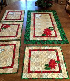 Poinsettia and Candle Quilted Place Mats - Advanced Embroidery Designs Christmas themed Quilted Table Runner with applique.Online center for machine embroidery designs. On this site you can find machine embroidery designs in the most popular formats, Christmas Placemats, Christmas Runner, Christmas Sewing, Christmas Embroidery, Christmas Table Mats, Table Runner And Placemats, Table Runner Pattern, Quilted Table Runners, Poinsettia