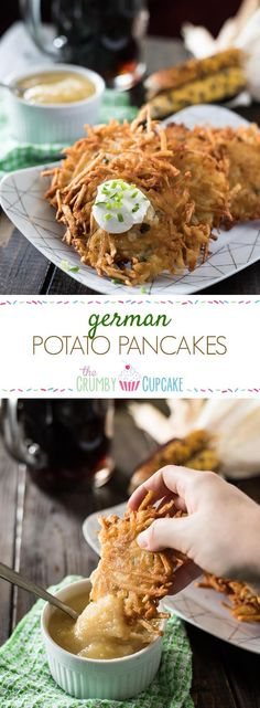 Authentic, easy to make comfort food at it's finest! These classic German Potato Pancakes, served with a side of applesauce or sour cream, are just what you need to kick off your Oktoberfest, and make a great snack any time of the day!