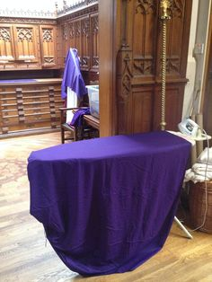 Ironing station set up for Passiontide coverings. http://www.sacristies-of-the-world.com/wp-content/uploads/2015/03/lent-4.jpg