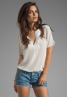 JOIE Amone Silk Blouse in Porcelain at Revolve Clothing - Free Shipping!