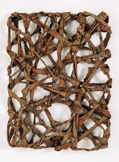 Hisako Sekijima, Bound Space, 1997; knotted apricot; 18.5 by 14 by 3 inches.
