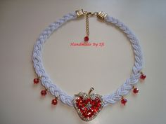 knitted necklace in white, red strawberries with rhinestones and glass beads https://www.facebook.com/pages/Handmade-Creations-by-Efi/187659788043676