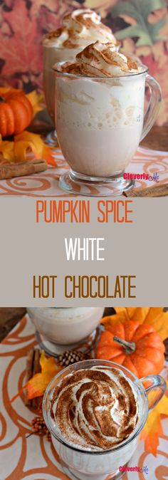This rich and creamy Pumpkin Spice White Hot Chocolate drink is absolutely the perfect treat to enjoy during the fall season. Get the recipe at http://CleverlyMe.com