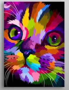 44 Ideas For Watercolor Art Face Easy Pop Art Posters, Cat Posters, Colorful Animal Paintings, Watercolor Art Face, Arte Pop, Cat Art, Amazing Art, Art Projects, Art Drawings