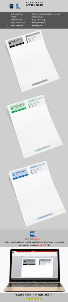 Corporate Letter Head (PSD & MS Word):http://psdgraphicland.com/corporate-letter-head-psd-ms-word/