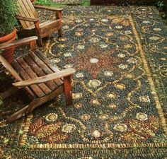 Outdoor Rug Made Entirely Of Rocks