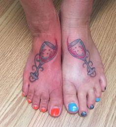 Wine glass friendship tattoo foot Wine Tattoo, Friendship Tattoos, Cool Tats, Foot Tattoos, Tatting, Wine Glass, Ink, Random, Bobbin Lace