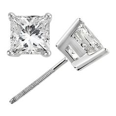 Allurez Princess Cut Diamond Stud Earrings.