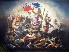"Asterix e Obelix by Albert Uderzo. Homage (and joke) based on the painting ""Liberty Leading the People"" by Eugène Delacroix. Cartoon Kunst, Cartoon Art, Liberty Leading The People, Asterix E Obelix, Bd Art, Comic Art, Comic Books, Jordi Bernet, Paul Gauguin"