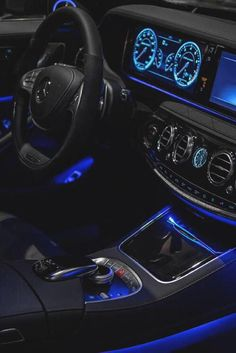 Black Benz interior with blue LED's