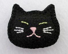 Felt Cat Pin / Brooch in Black