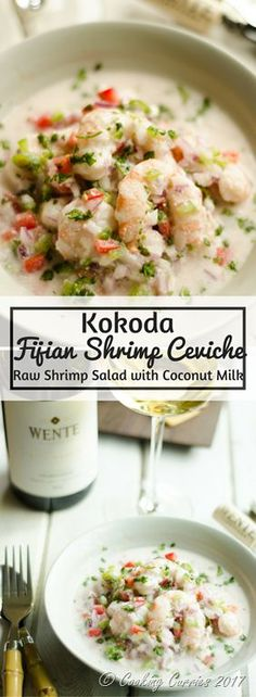 Msg 4 21 Fresh, citrusy with a subtle hint of spice, this Fijian dish of Kokoda, a shrimp ceviche or raw fish salad is any seafood lover's favorite when paired with a chilled glass of Chardonnay to wind down a long summer day with. Salad Recipes Low Carb, Fish Recipes, Seafood Recipes, Indian Food Recipes, Great Recipes, Healthy Recipes, Ethnic Recipes, Fijian Recipes, Recipies