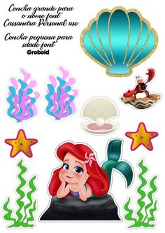 Princess Cake Toppers, Homemade Stickers, Mermaid Crafts, Paper Cake, Cardboard Crafts, Ariel The Little Mermaid, Scrapbook Stickers, Diy Party Decorations, Clip Art