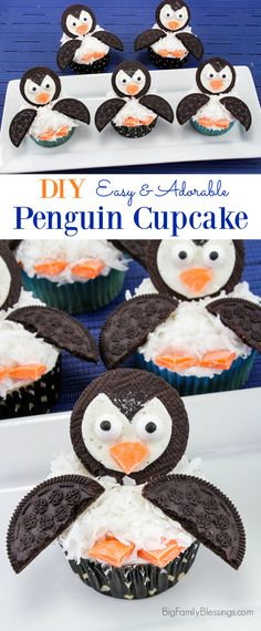 These adorable and easy DIY Penguin Cupcakes are perfect for a winter or zoo themed party! Birthday Cake Kids Boys, Penguin Birthday, New Birthday Cake, Homemade Birthday Cakes, Birthday Cupcakes, Birthday Diy, Birthday Wishes, Themed Cupcakes, Penguins