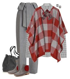"""Poncho Plaid"" by halebugg ❤ liked on Polyvore featuring Django & Juliette, J Brand, Whistles, STELLA McCARTNEY, DIBI, Kenneth Jay Lane, plaid and poncho"