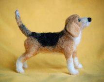 Beagle – Nadel Filz Hund Portrait Skulptur