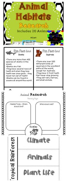 Animal Habitats Research~ 20 animals from various habitats, habitat flip books, includes QR code cards for interactive research