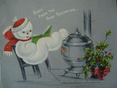 Great vintage Christmas card featuring a cute snowman reading with his feet up on the pot belly stove. Excellent condition except for paper residue on the back. Printed signature inside.
