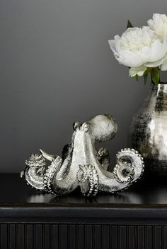 Buy Silver Octopus Ornament from the Next UK online shop Tall Silver Vases, Mirror With Shelf, Mantle Clock, Faux Flowers, Decorative Accessories, Resin, Ornaments, Stuff To Buy, Inspiration