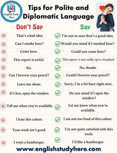 Tips for Polite and Diplomatic Language - English . -You can find Language and more on our website.Tips for Polite and Diplomatic Language - English . Teaching English Grammar, English Writing Skills, English Language Learning, English Lessons, English Tips, English English, Language Study, French Lessons, German Language