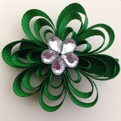 Green Flower Clip