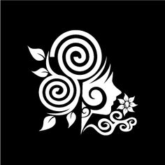 Graphic Design of Flower Clipart - White Swirl Flower Girl with Black Background