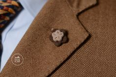 Wool felt lapel pin in brown and beige by ASDFstyle on Etsy