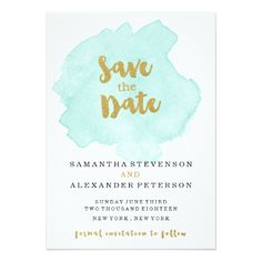 Gold and Teal Blush Save the Date Card