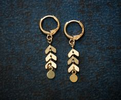 Petite Raw Brass Chevron Chain Earrings with Paddle by BevaStyles