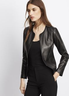 Tailored Collarless Leather Jacket | Vince