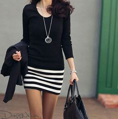 Stripped skirt, black shirt!! Love!