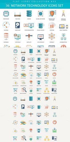 Network technology flat icons set.. Business Infographic