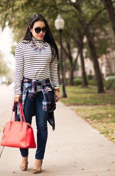 cute & little blog | petite fashion | striped turtleneck, waist tied plaid shirt, leopard pumps, red bag, statement necklace outfit
