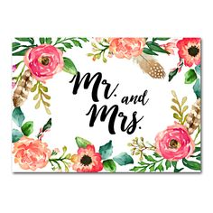 DIY!  Wedding Sign Watercolor Flowers - Mr. and Mrs. - Instant Download Printable - Style 10 - 5x7