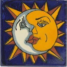 Sol y Luna Ceramic Talavera Mexican Tile