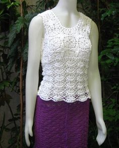 Woven blouse with mercerized crochet thread by ruecavellon on Etsy