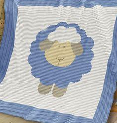 CROCHET Pattern  Baby Blanket Pattern  Sheep  von PatternWorldUK