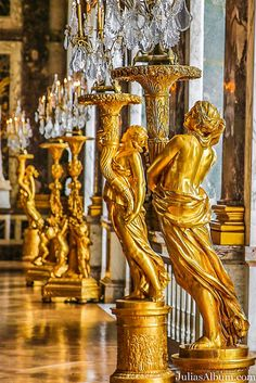 The Hall of Mirrors (Grande Galerie or Galerie des Glaces) is the central gallery of the Palace of Versailles