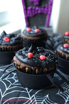 Farmgirl Gourmet: Delicious Recipes for the Home Cook.: Dark Chocolate Salted Caramel Spider Cupcakes - Happy Halloween