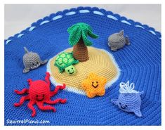 Free. Author Jennifer Olivarez Introduction This island play set includes instructions for crocheting the ocean and island base, palm tree, and also a shark, whale, turtle, octopus, and starfish amigurumi. One of my favorite features of this play set is the drawstring. When you cinch it up, the play set becomes a bag to hold all…