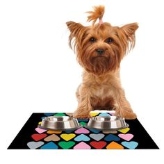 Kess InHouse Project M 'Up and Down Hearts on Black' Feeding Mat for Pet Bowl, 24 by 15-Inch -- Want to know more, click on the image.