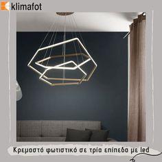 Κρεμαστό φωτιστικό σε τρία επίπεδα με led για να διακοσμήσετε το χώρο σας με στυλ και κομψότητα. #Klimafot #LightDesign #LightArchitecture #HomeDecoration #Indoor #Design #Indoorlight #Decor #Deco #ModernStyle #Modern #Style #ModernDesign #ModernLighting #StyleLighting #LuxuryLightning Decor, Home Decor, Ceiling Lights, Ceiling