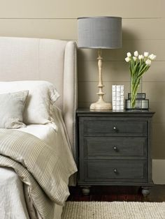 Stash It in Plain Sight in Tips for a Clutter-Free Bedroom Nightstand from HGTV nice palette
