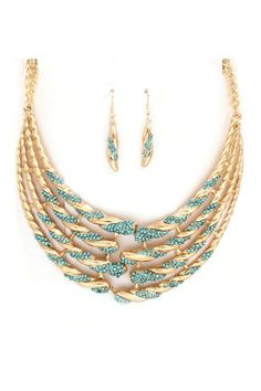 Blue & Gold Necklace and Earrings.